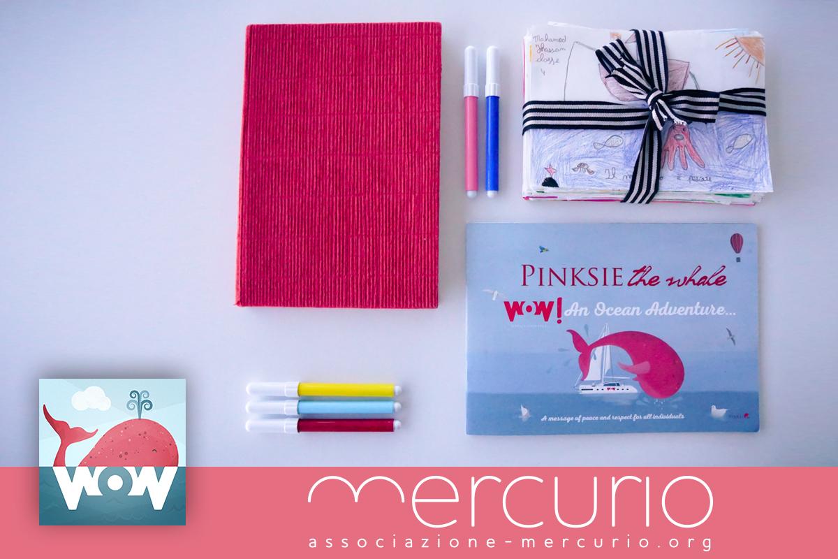 """Il libro rosso, che ha accompagnato PinksieOnWoW nelle scuole di Miami e New York durante i laboratori creativi con i bambini e il quarto libro della collana Pinksie the Whale: """"Pinksie the Whale WoW! An Ocean Adventure"""