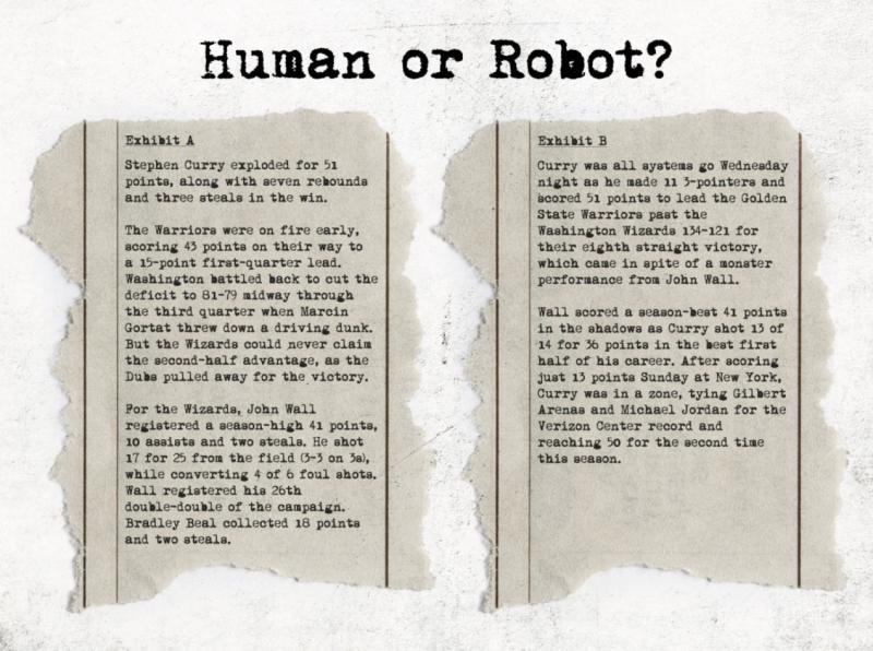 Due articoli di giornale a confronto: uno scritto da un essere umano e l'altro da un robot