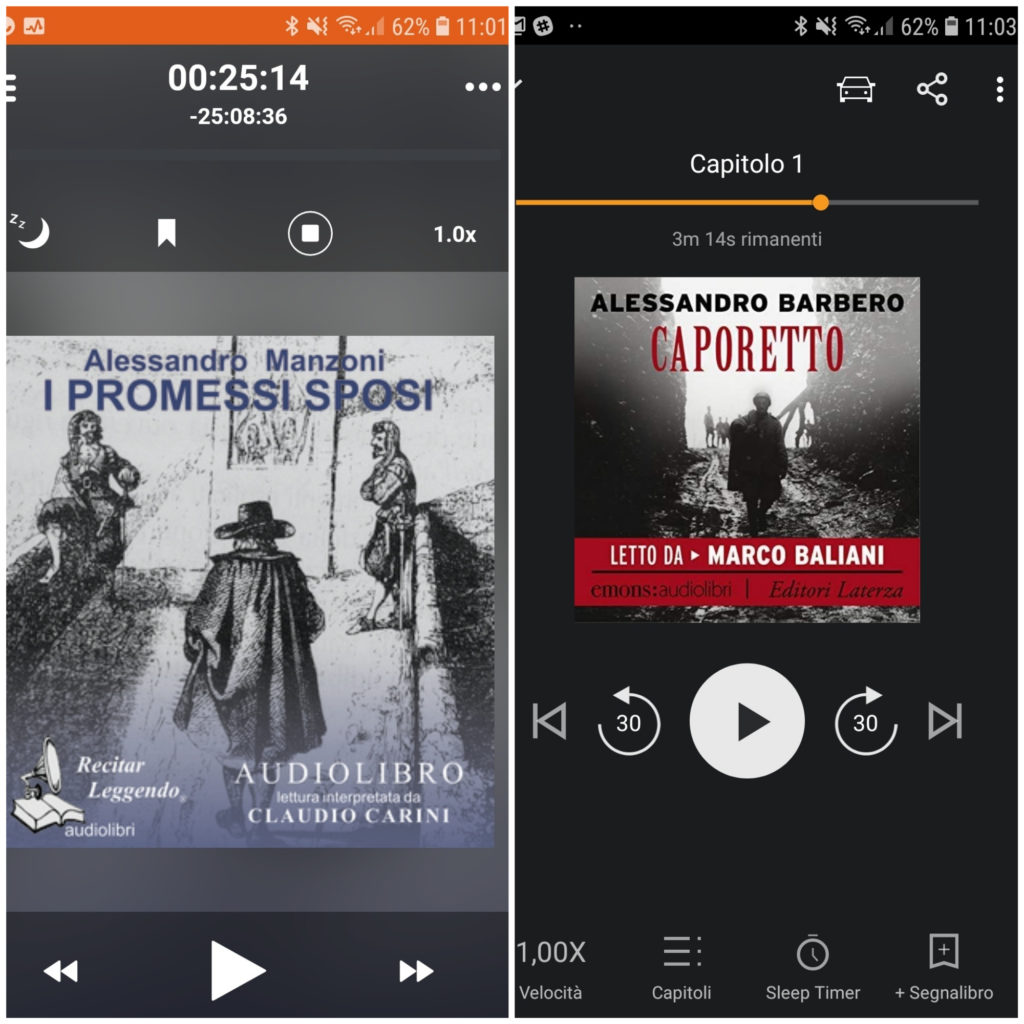 Le interfacce dei player di Audible (sinistra) e Storytel (destra).