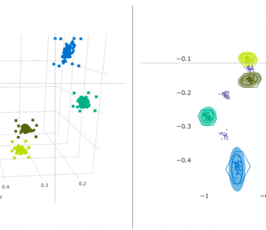 riconoscimento del colore esempi di distribuzione nello spazio: modello tridimensionale (a sinistra), modello normalizzato bidimensionale (a destra)
